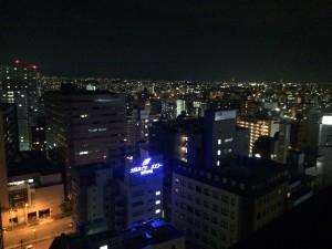 窓の外の夜景はこんな感じ。新大阪周辺の夜景。